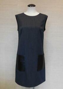J. Crew Dark Gray Faux-leather Pocket Wool Blend Work Career Shift Dress Size 4