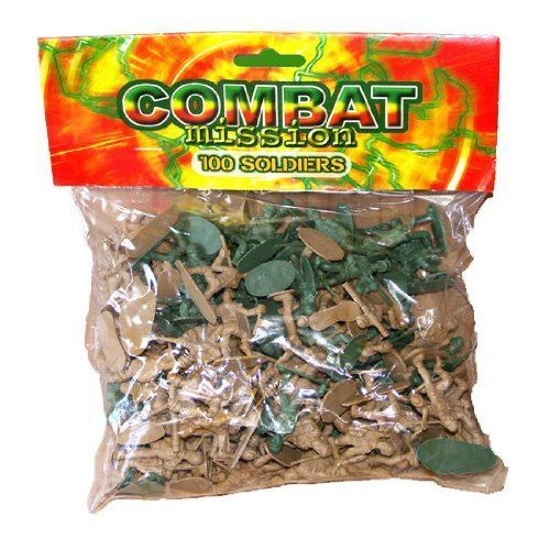 Combat Mission 100 Piece Plastic Toy SoldiersTraditional Green and Brown A...