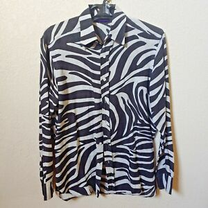 Ralph-Lauren-Zebra-Print-Men-039-s-Long-sleeve-Shirt-Large