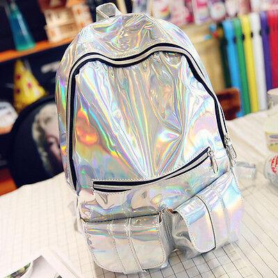 Damen Mode Silber Holographic Rucksack Leder-Schule-Schulter Backpack Rucksack