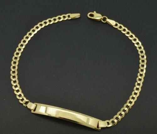 "gravure Véritable 10K or Jaune 8/"" gravés ID 4 G CUBAN LINK Hommes Bracelet"