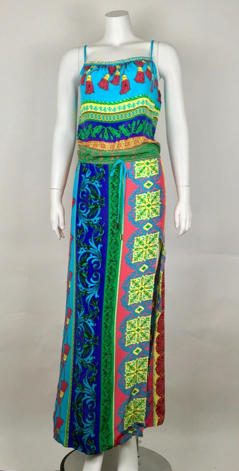 Hale Bob damen's Maxi Dress 100% Silk Drawstring Waistband Spaghetti Straps