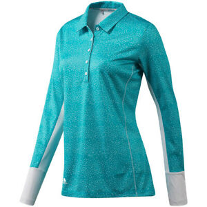 Adidas-Women-039-s-Printed-UPF-Top-Long-Sleeve-Golf-Polo-Shirt-Activewear-L-NWT
