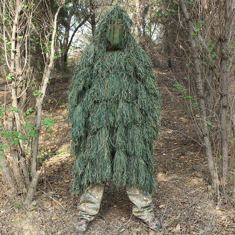 Men Outdoor Outdoor Men Hunting Ghillie Suit Jungle Woodland Sniper Camouflage Cloak Poncho 11a406