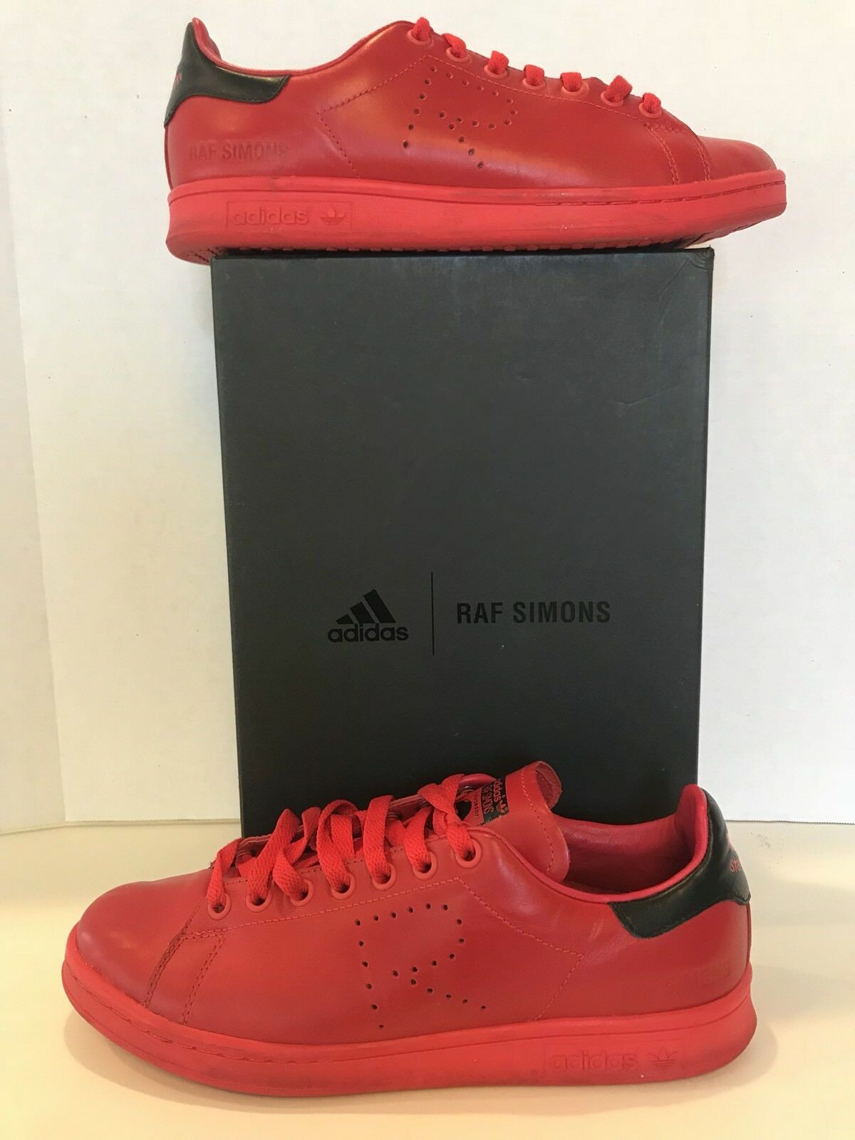 ADIDAS ADIDAS ADIDAS by RAF SIMONS Stan Smith LTD EDITION Red Leather SZ 8 Sneakers ZR-31 46b30d
