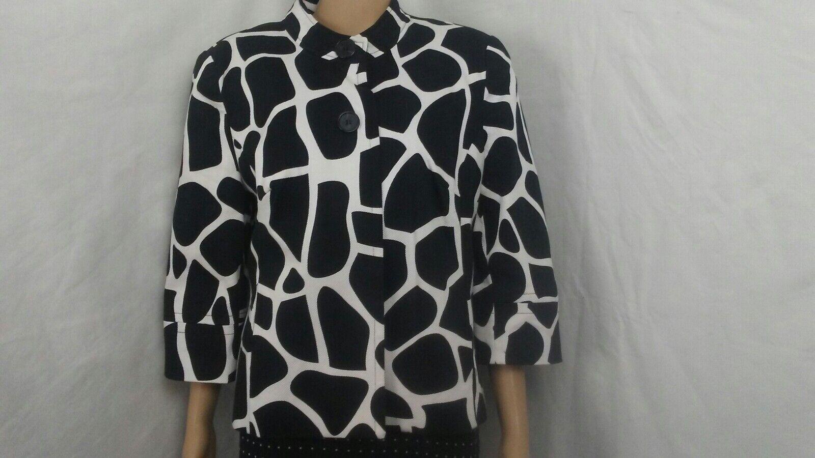 East 5th Womens Jacket Sz L Black/White Animal Print 3/4 Sleeves Mandarin Collar