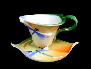 FRANZ-PORCELAIN-COLLECTION-FZ00212-WHEAT-amp-DRAGONFLY-2-5-8-034-CUP-amp-SAUCER-2005