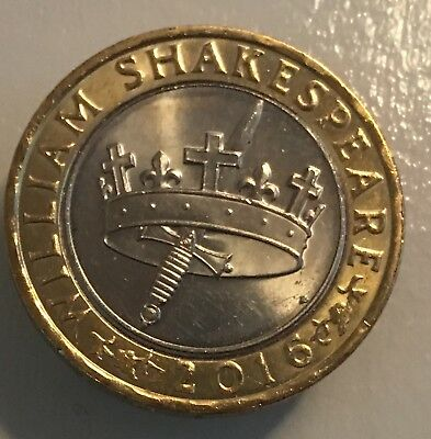 Rare 2 Pound Coin William Shakespeare