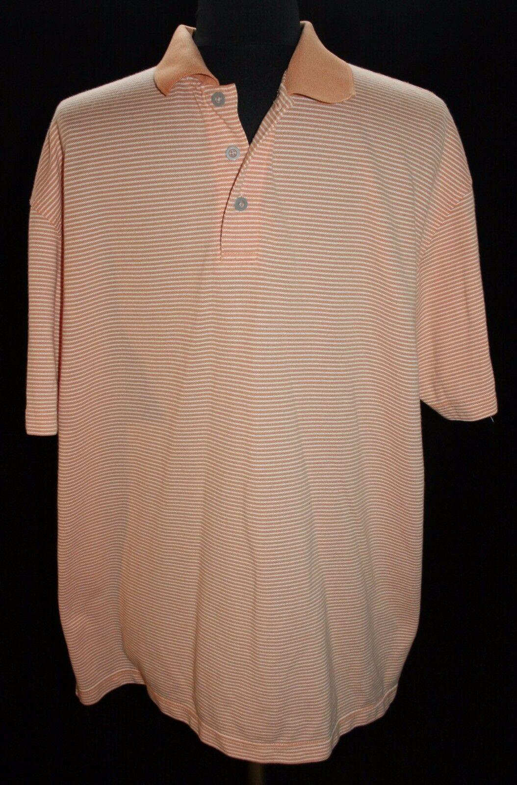 Mens Oobe Sz XL Peach Striped Polo Shirt Rugby Short Sleeve Casual
