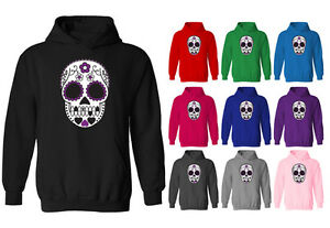 9a964adb4c3 Image is loading Womens-Mexican-Sugar-Skull-Tattoo-Style-Pullover-Hoodie-