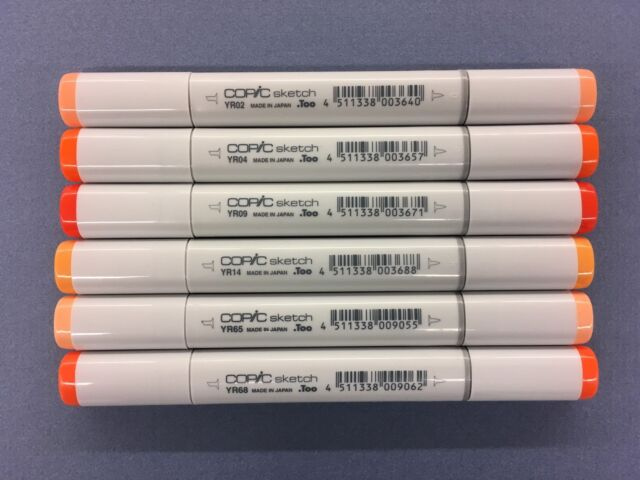 Lot Of 6 Copic Sketch Art Markers Orange Colors Spring Double Tipped New Unused