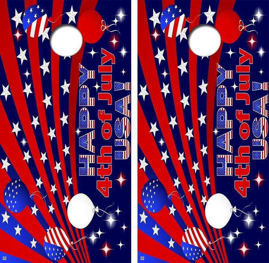 Happy 4th of July Fireworks  Design Cornhole Board Decal Wrap FREE SQUEEGEE  factory direct and quick delivery