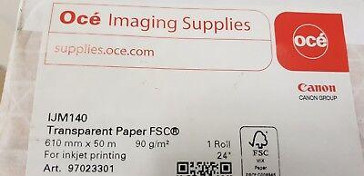 OCE CANON 90gm Inkjet Plotter Paper 610mm x 50m Roll IJM140 New