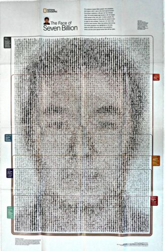 ⫸ 2011-3 The Face of Seven Billion 2011 National Geographic Map Poster