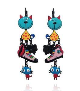 Lol-Bijoux-Ohrringe-pop-art-Katze-Korb-Sofa-Mund-blau