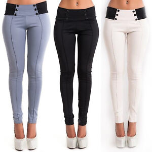 Womens-Fit-Slim-Pencil-Trousers-High-Waist-Stretch-Casual-Skinny-Jeggings-Pants