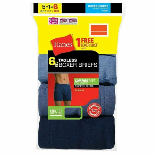 Hanes Men/'s Boxer Briefs 6-Pack or 12-Pack with Comfort Flex Waistband FreshIQ