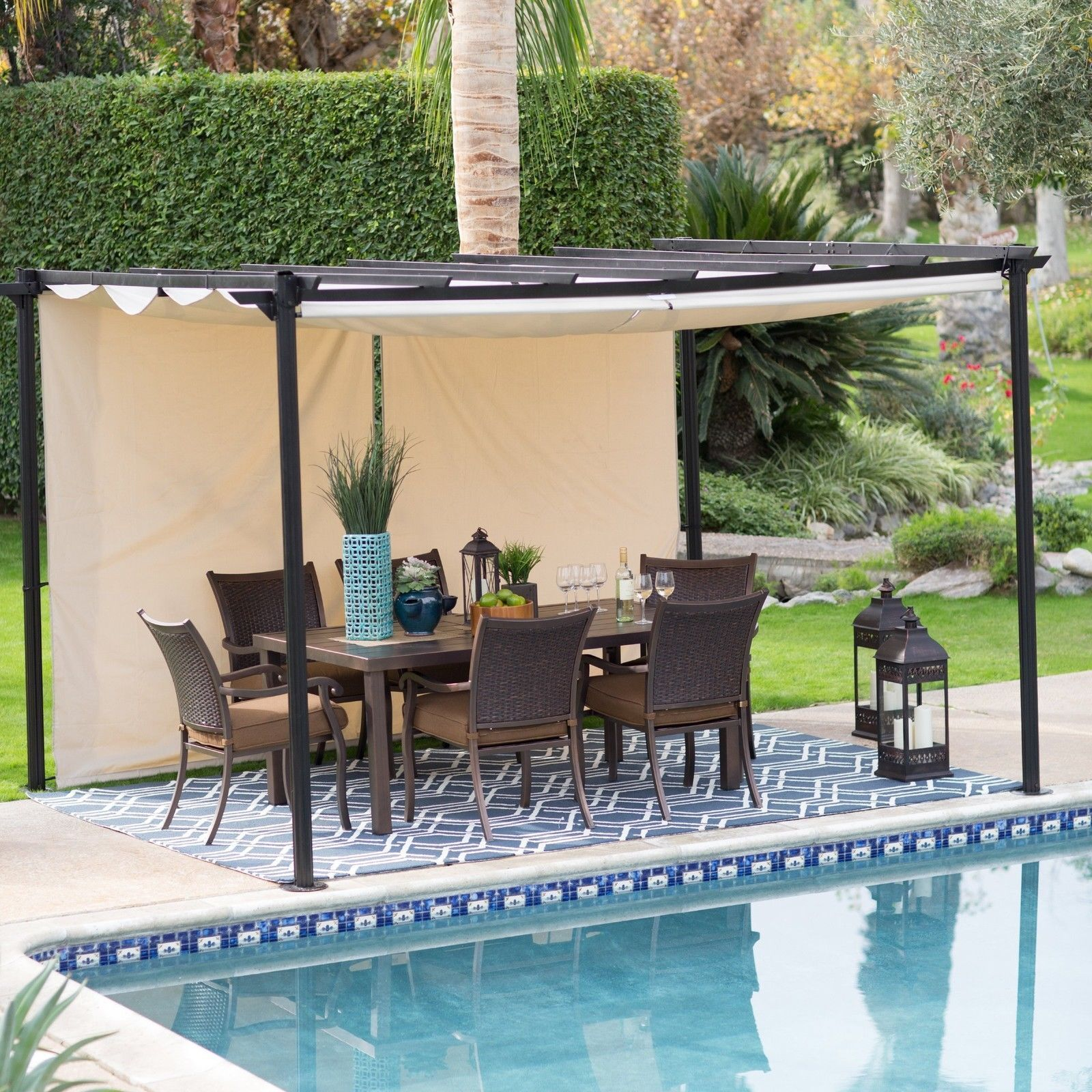 gazebo canopy tent outdoor cover patio shelter yard deck shade garden pool steel ebay. Black Bedroom Furniture Sets. Home Design Ideas