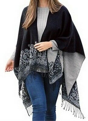 Womens One Size Lighter Weight Reversible Wrap / Shawl in Grays