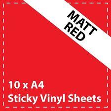 10 x A4 MATT RED Sticky Vinyl Sheets - Craft Robo, CriCut & Crafts