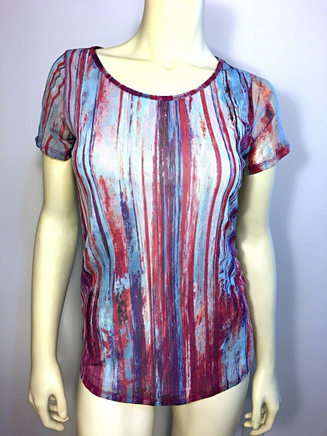NWT Vivienne Tam Pink bluee Stripe Mesh Watercolor 90's Top Blouse Shirt Med