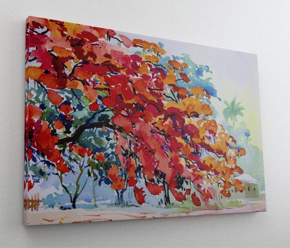 Acryl Gemälde Hütte Wald Leinwand Canvas Bild Wandbild Kunstdruck L2164