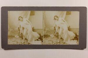 Donna Posa Stile Antico Voile Artistico Foto Stereo Vintage Citrato c1900
