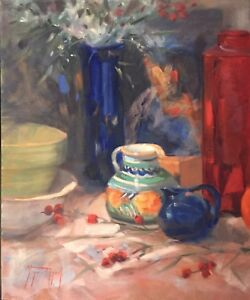 MEXICAN-PITCHER-Still-Life-Impressionist-Oil-Painting-Margaret-Aycock