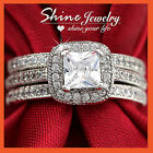 18K GOLD GF 2CT SQUARE SOLITAIRE DIAMOND WOMEN SOLID ENGAGEMENT WEDDING RING SET