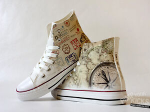 Traveller world map compass custom made canvas shoes ebay image is loading traveller world map compass custom made canvas shoes gumiabroncs Image collections