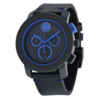 MOVADO Bold Chronograph Navy Blue Dial Blue Leather Men's Watch