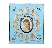 Tiny Ideas Baby's First Year Picture Frame, Silver/blue, New, Free Shipping on sale