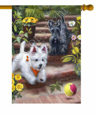 """West Highland white Terrier painting /""""COUNTRY WESTIE/"""" GARDEN FLAG  Dog ART"""
