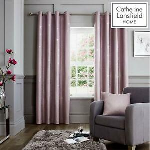 Catherine Lansfield Velvet Bands Heather Curtains or Pillowshams