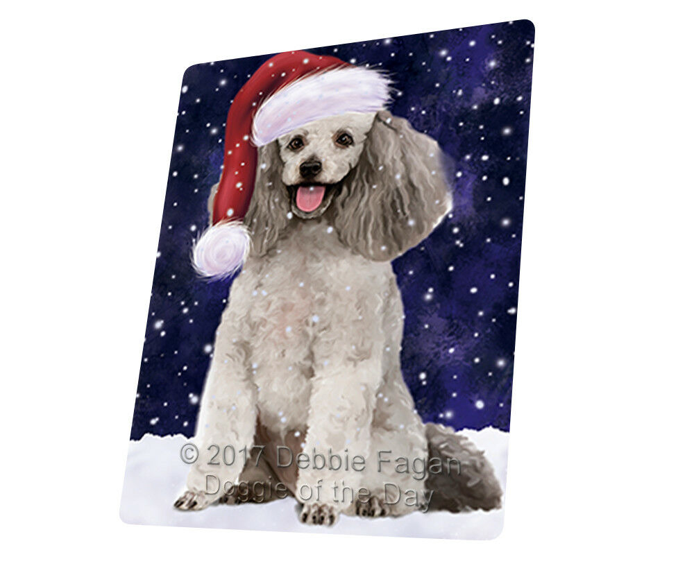 Let it Snow Christmas Holiday Poodle Grey Dog Woven Throw Sherpa Blanket T18