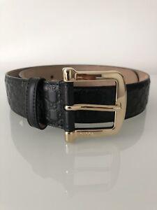 c495e328d60 Image is loading Gucci-Black-Logo-Embossed-Leather-Belt-Sylvie-Princetown-