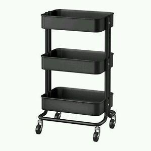 Kitchen Cart Utility Black Shelves 3 Steel Rolling Casters Storage Ikea Garage Ebay