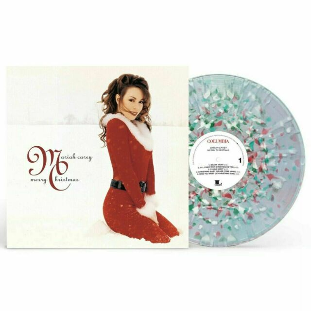 MARIAH CAREY MERRY CHRISTMAS VINYL SPLATTER WHITE RED GREEN EXCLUSIVE LP IN HAND