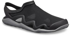 Crocs Men/'s Swiftwater Mesh Wave Slip On Sandal Black Slate Grey 28732