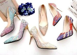 Women-Spring-Retro-Plaid-High-Heels-Casual-Pump-Thin-Pointed-Gladiator-Rubber