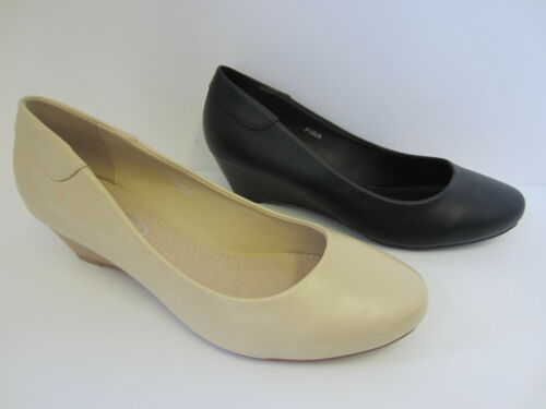 F9806 Ladies Cream Or Black Spot On Wedge Shoes UK Sizes 3-8