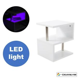 Details About Newdesign White High Gloss Sidelampcoffee Table Night Glow Led Cylindrical Leg