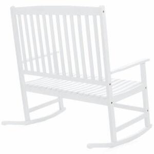 Fantastic Details About 2 Person Outdoor White Slat Wood Rocking Chair High Back Deck Porch Furniture Download Free Architecture Designs Xerocsunscenecom