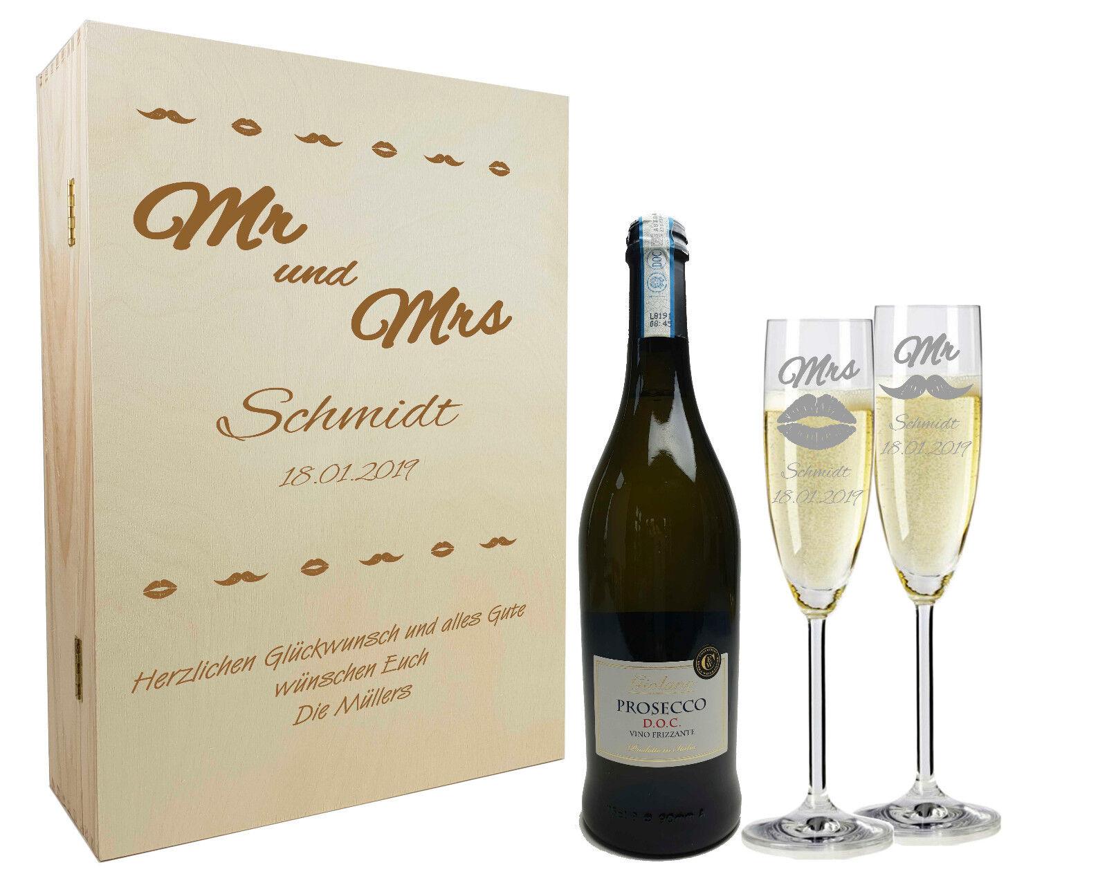 Gravierte Sektgläser Holzkiste mit Sekt Geschenkset zur Hochzeit  Mr & Mrs
