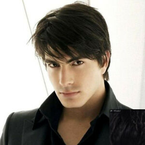 Trendy-Short-Fluffy-Toupee-Natural-Straight-Masculine-Capless-Wig-Hair-For-Men
