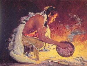 """BY THE FIRE"" NON NATIVE AMERICAN INDIAN ARTIST *CANVAS* ART PRINT ~ GICLEE"