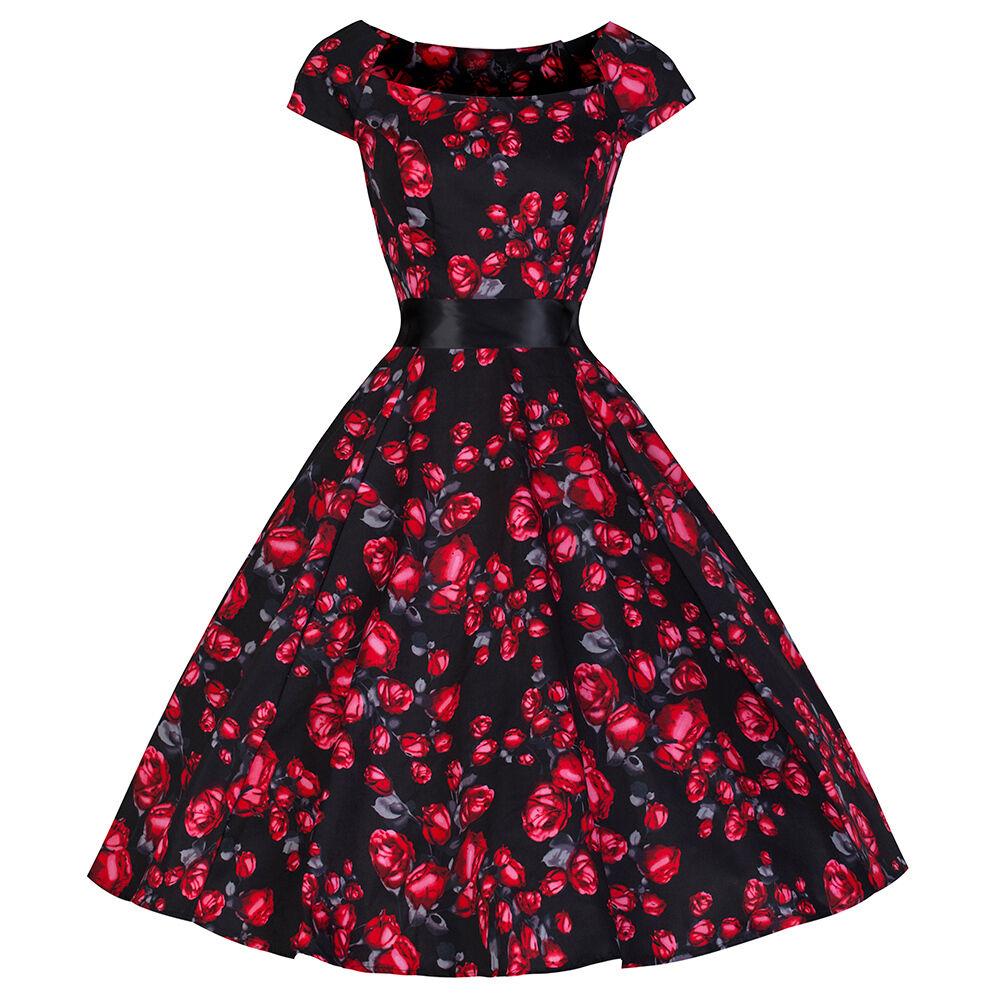 Bello Kitty Anni '40 50 Nero rosa Rosse Vintage Tè Stile '50 Rockabilly Vestito