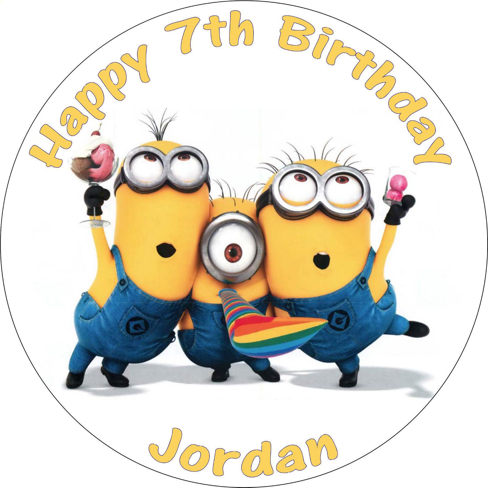 Super Despicable Me Minion Party Edible Round Birthday Cake Topper Funny Birthday Cards Online Aeocydamsfinfo