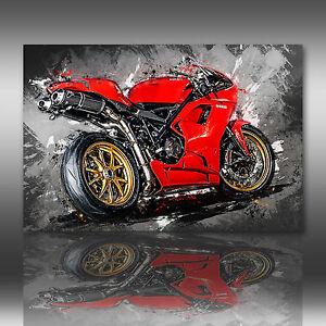 Ducati 1098 Leinwand Bild Motorrad Deko Wandbild Poster XXL Kunstdruck Bilder