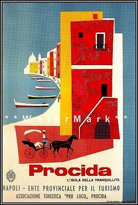 Italy Procida 1954 Vintage Poster Print Retro Style Italian Travel Art Advert